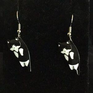 BLACK and WHITE ENAMEL KITTY DANGLING EARRINGS